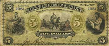 Ottawa, ON The Bank of Ottawa $5, Nov., 1880 Ch. # 565-12-02b